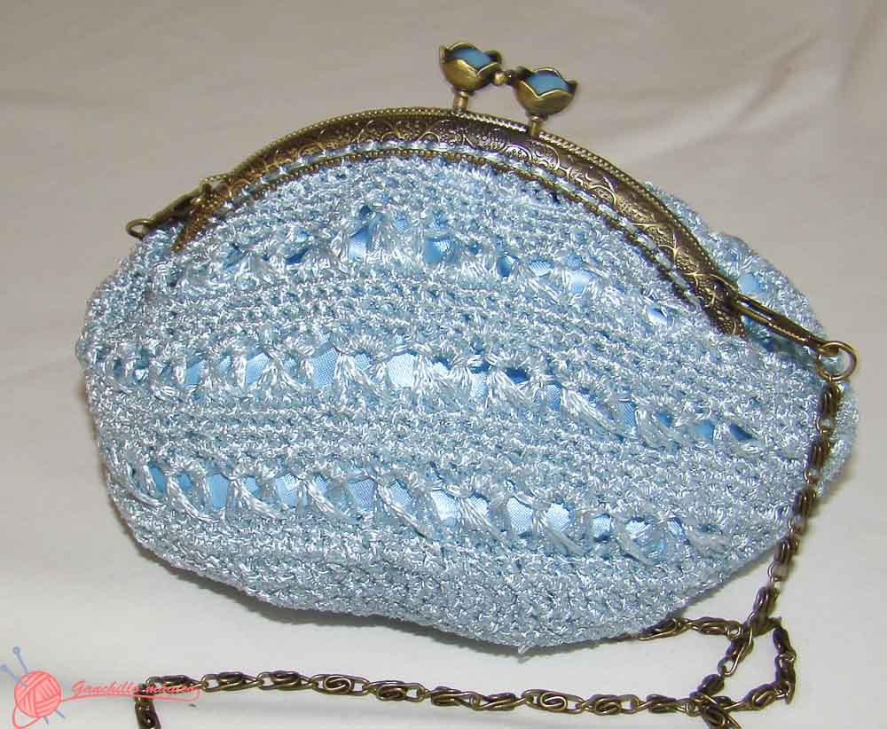 bolso de fiesta ganchillo blue bag