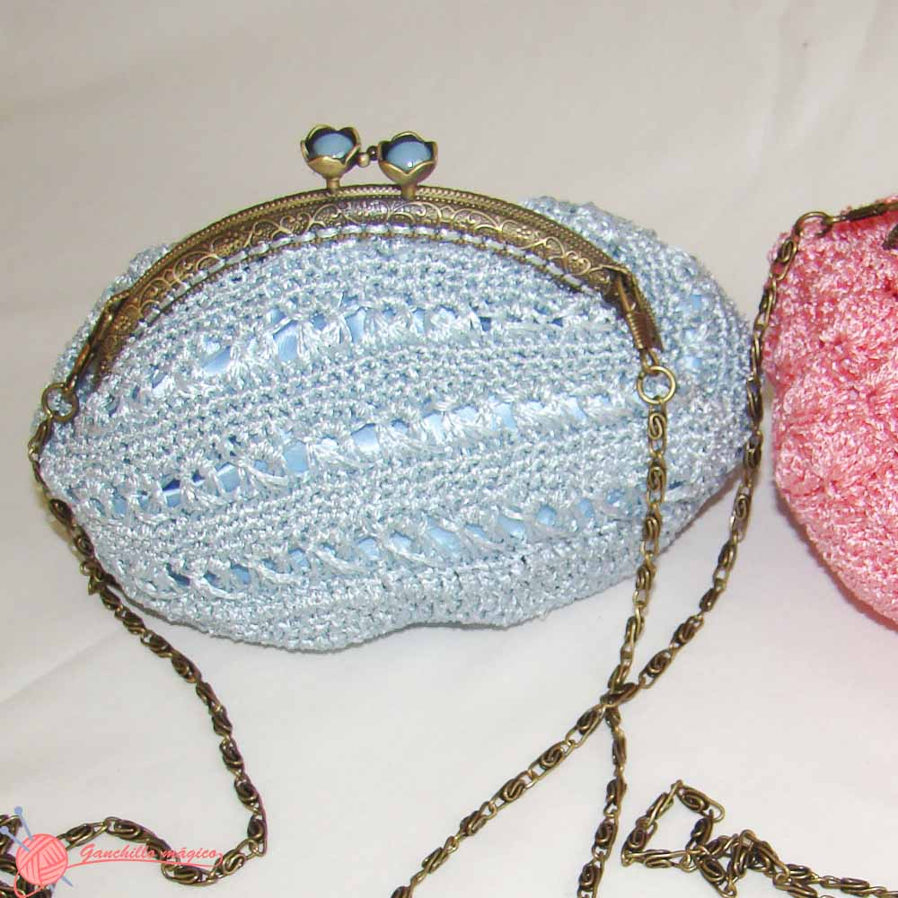 bolso de fiesta ganchillo (2) blue bag