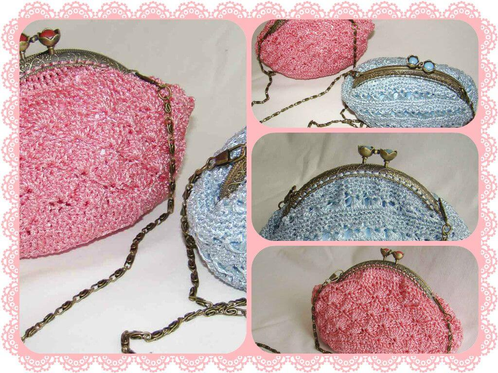 bolso de fiesta ganchillo collage pink bag